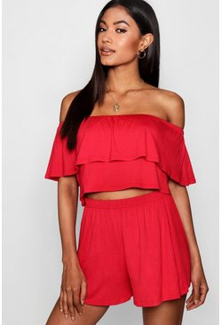 Womens Red Off The Shoulder Top + Short Co-ord