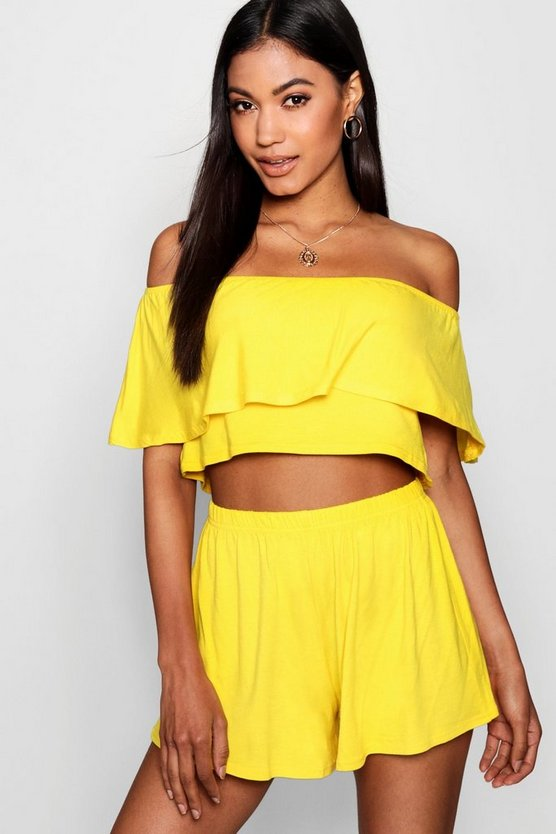 Womens Yellow Off The Shoulder Top + Short Co-ord