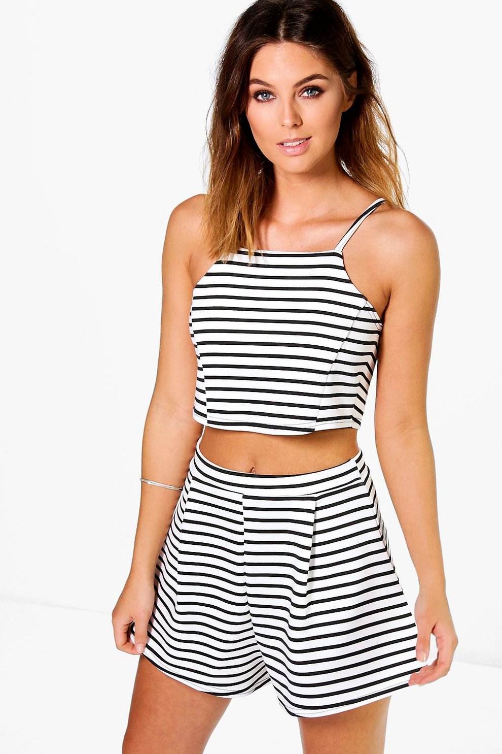 973c4f1c15 Beci Striped Crop Top + Short Co-ord Set | Boohoo