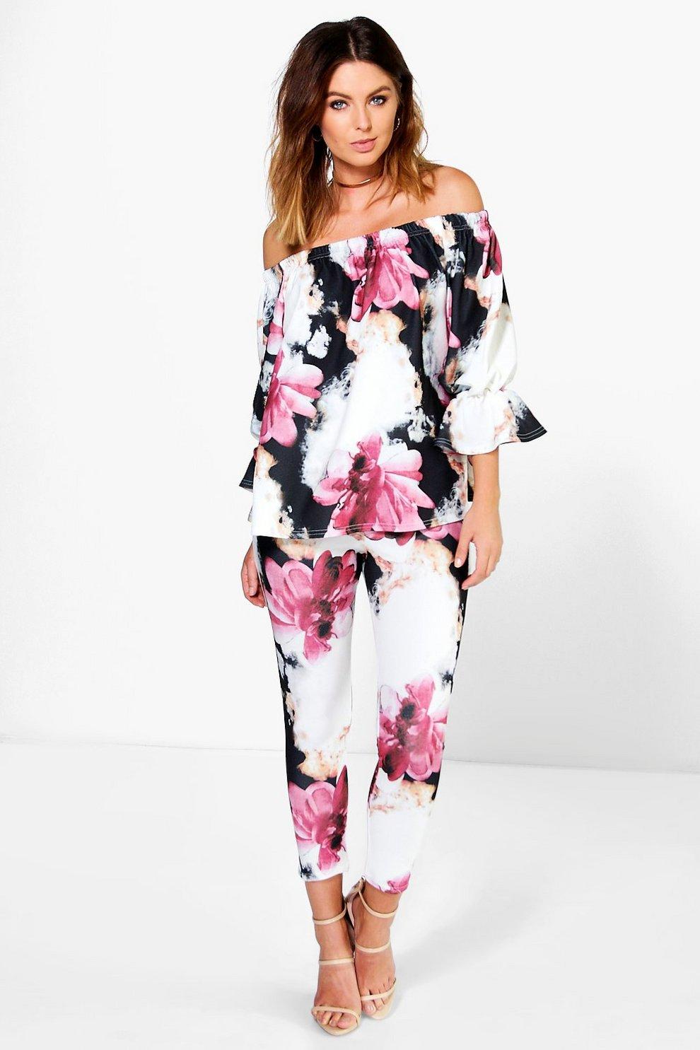 f037e8e8f65d3d Sasha Floral Off The Shoulder Top   Skinny Trouser Co-ord