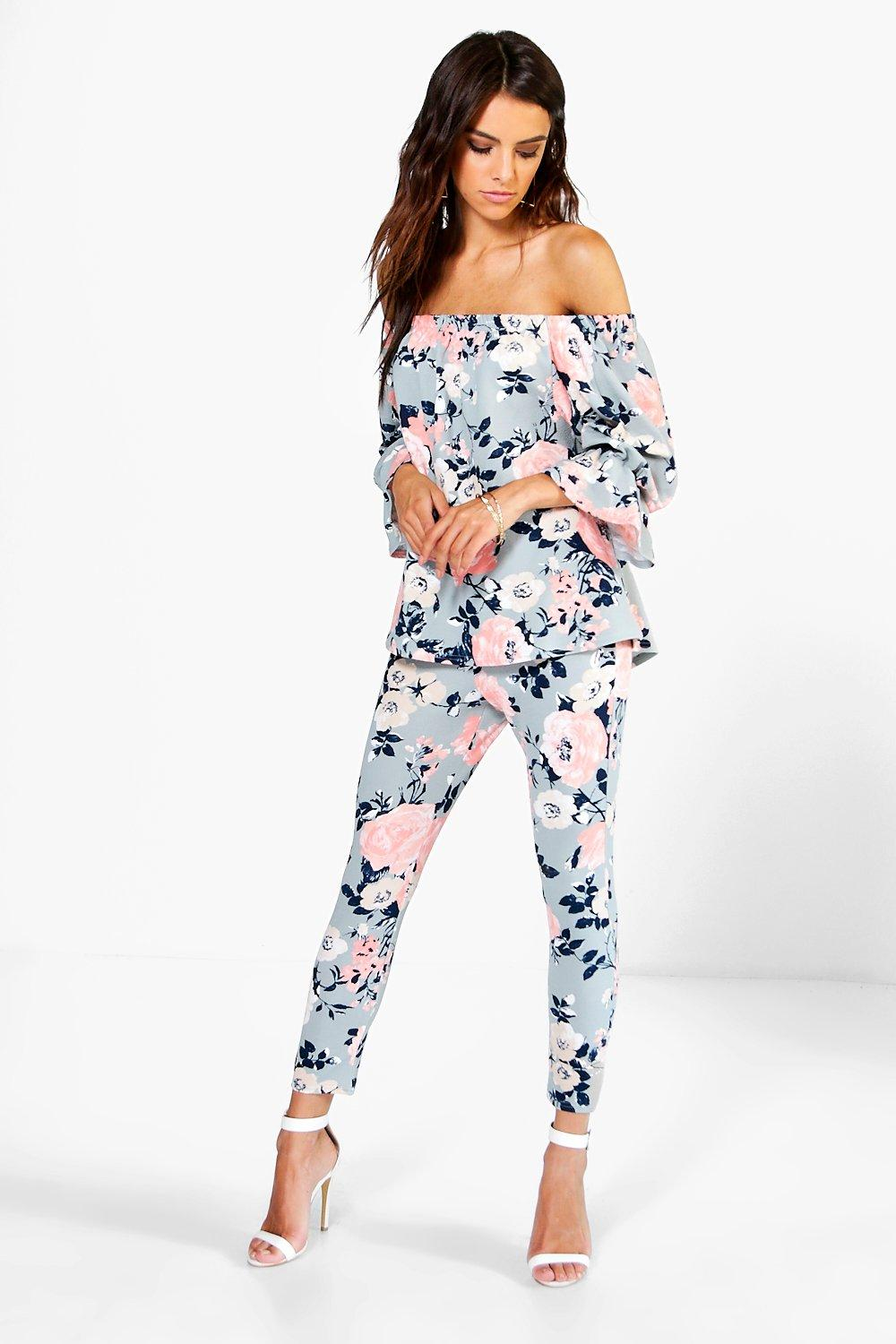 2f44cb4e44fbc4 Nina Floral Off The Shoulder Top + Skinny Trouser Co-ord | Boohoo