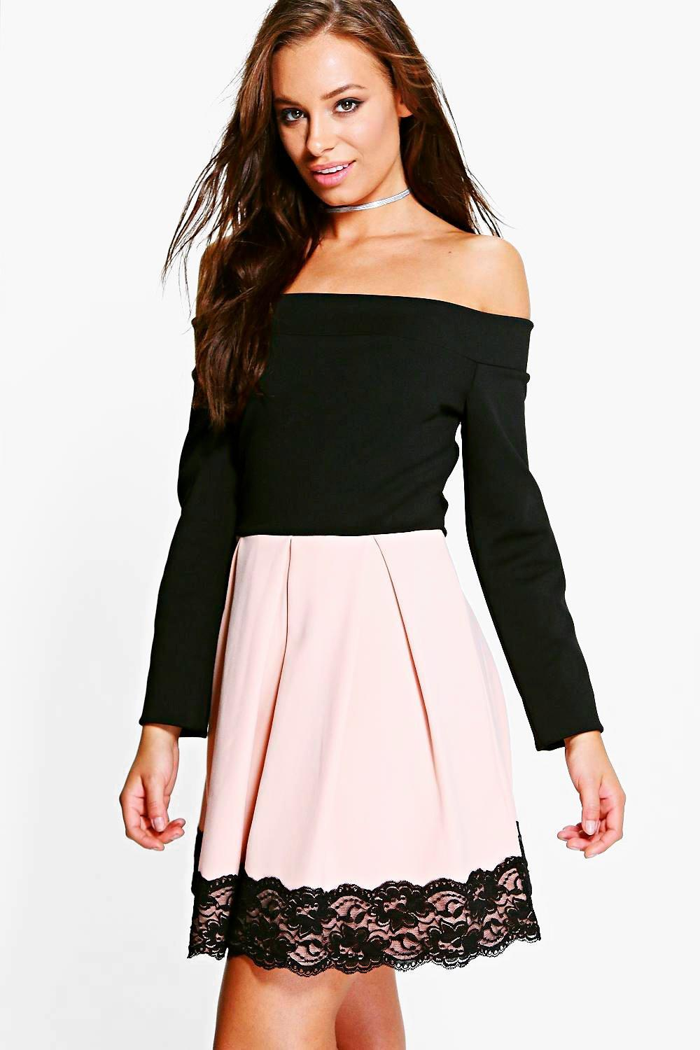 fe4d2e2a36 Keira Contrast Off Shoulder Skater Dress. Hover to zoom