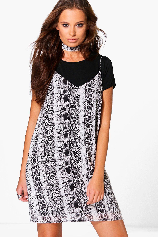 c4919abc3002 Hermia Snake Print Slip Dress With Choker | Boohoo