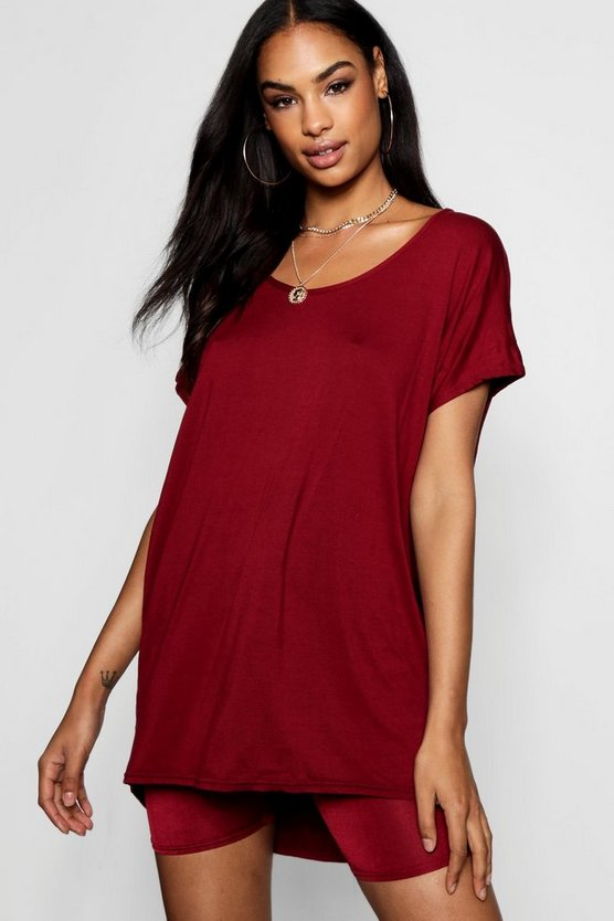 Womens Wine Basic Oversized T-Shirt