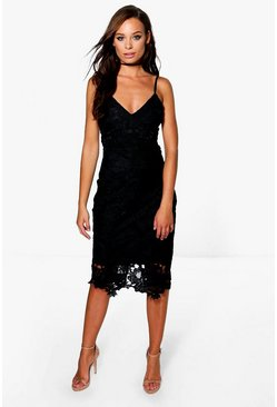 Womens Black Boutique Crochet Lace Strappy Midi Dress
