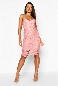 Blush Boutique Crochet Lace Strappy Midi Dress