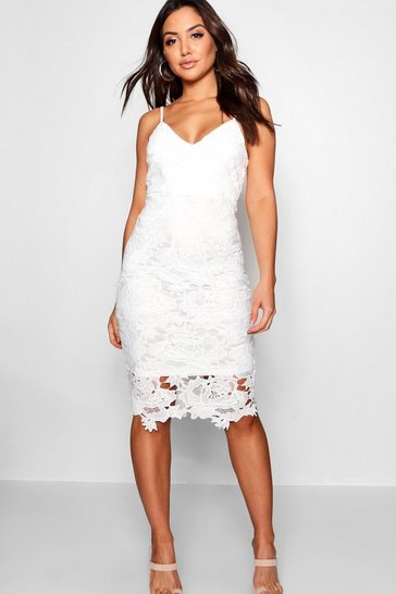 Womens White Boutique Crochet Lace Strappy Midi Dress