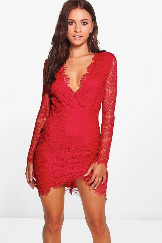 Suvi All Over Lace Wrap Detail Bodycon Dress