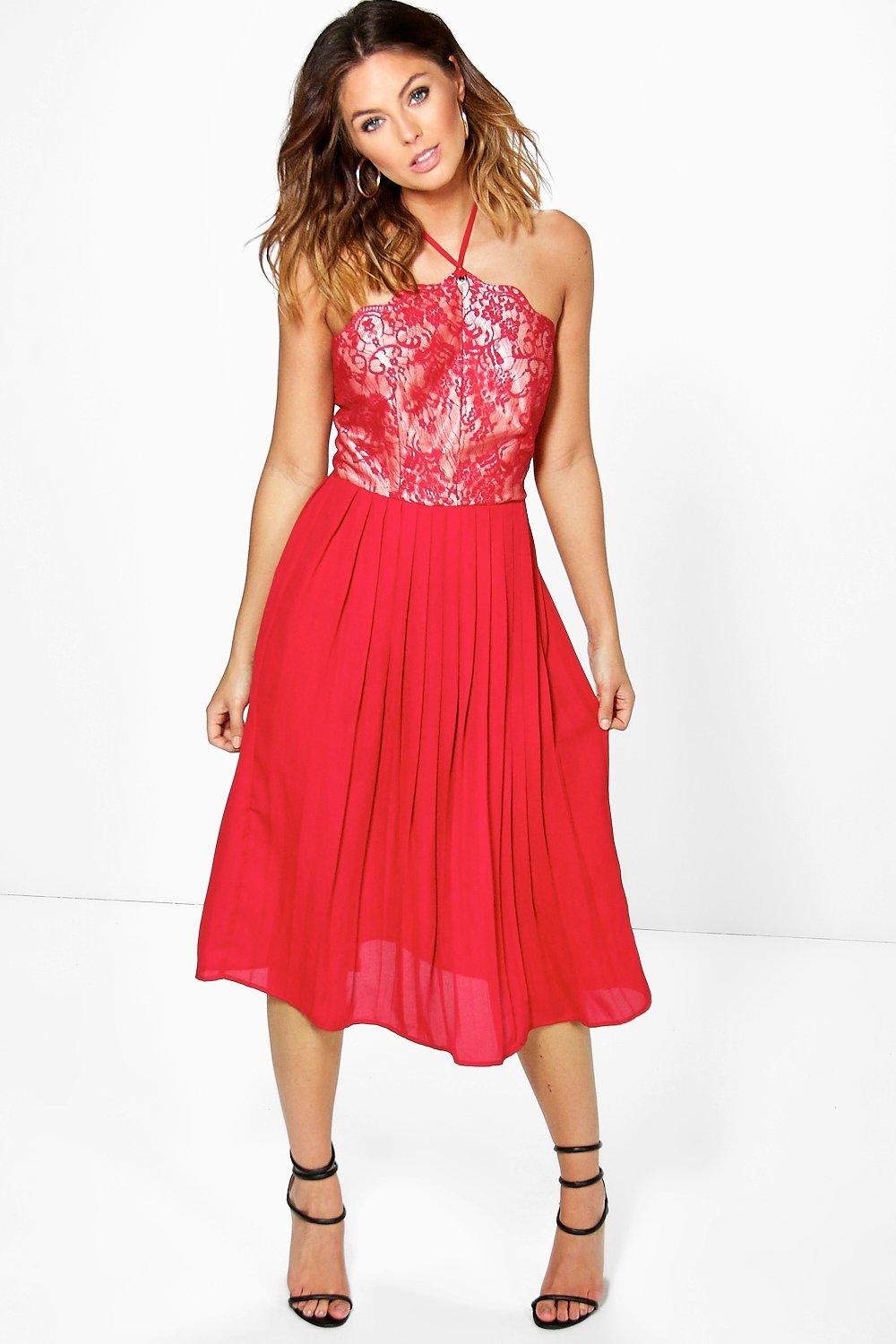 Betty Lace Top Pleated Skirt Skater Dress   Boohoo