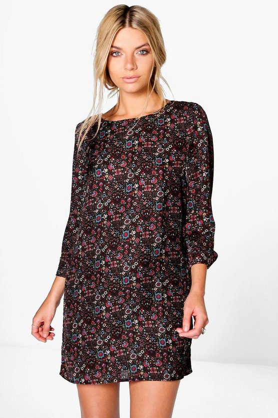 Black Aislinn Artisan Floral Shift Dress