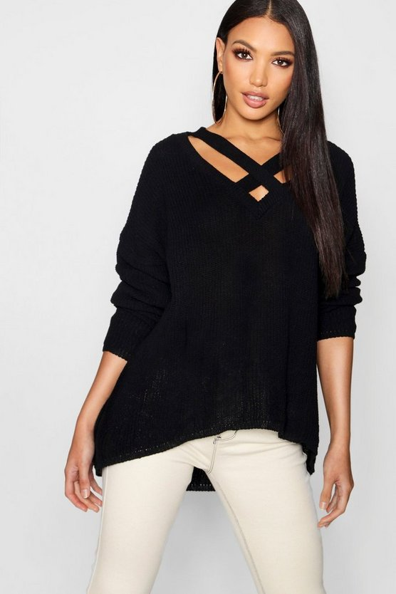 Oversized Strap Neck Jumper