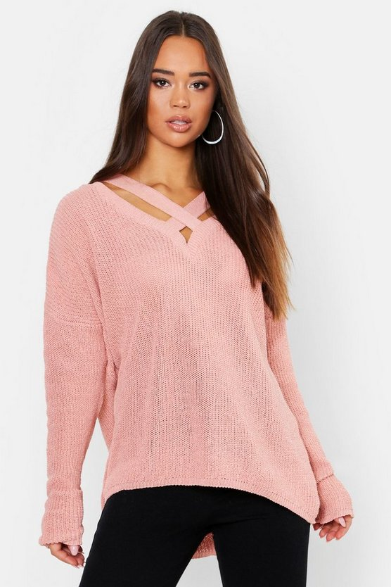 Womens Coral Oversized Strap Neck Jumper