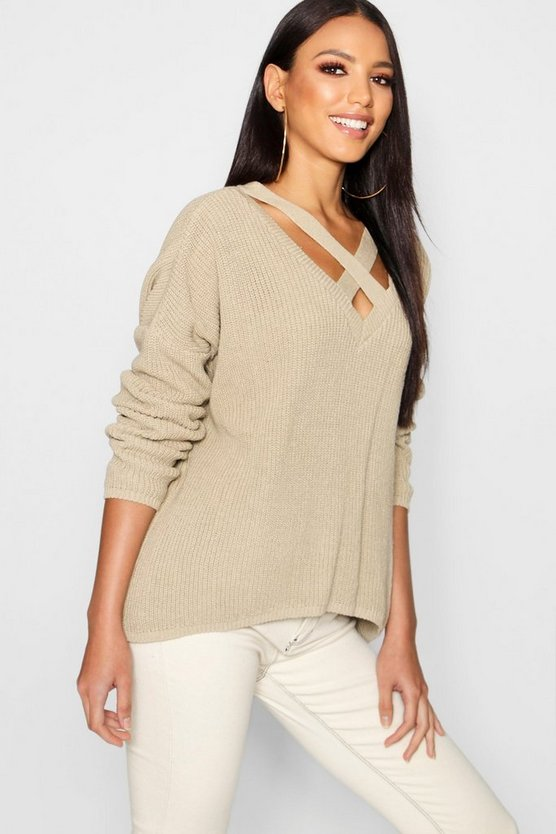 Womens Stone Oversized Strap Neck Jumper