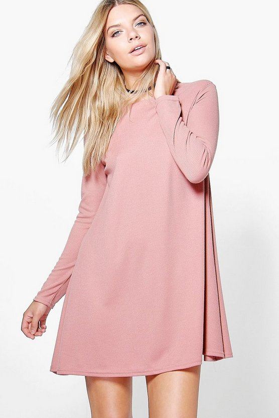 Rib Knit Swing Dress