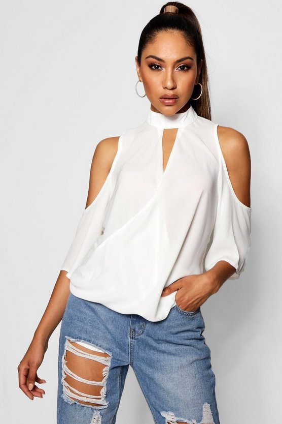 Cold Shoulder Choker Detail Blouse