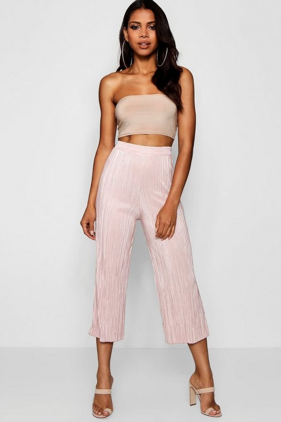 Womens Champagne Pleated Wide Leg Cropped Culottes