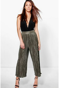 Womens Khaki Pleated Wide Leg Cropped Culottes