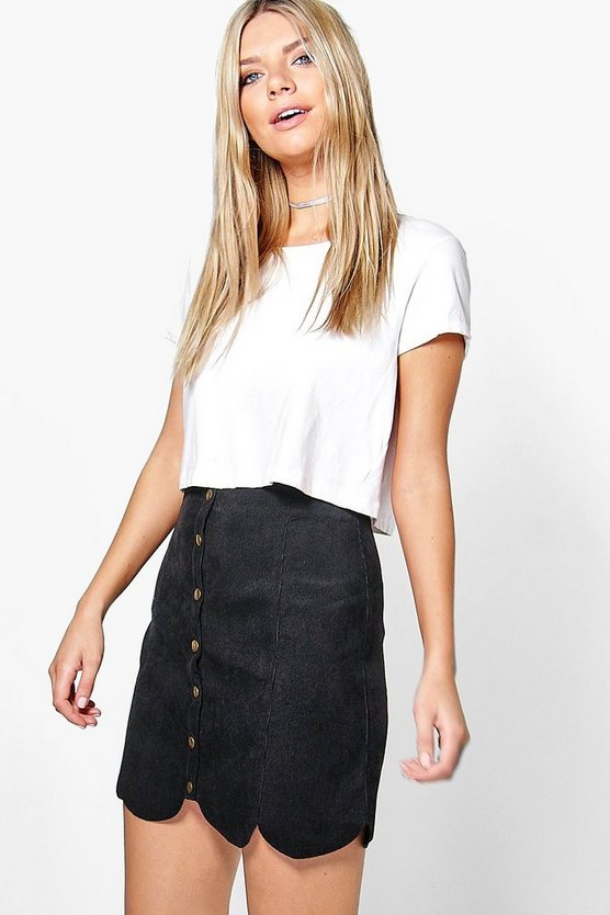 Eloise Scalloped Hem Cord Mini Skirt