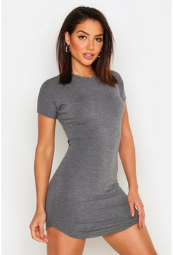 Womens Charcoal Basic Curved Hem T-Shirt Dress