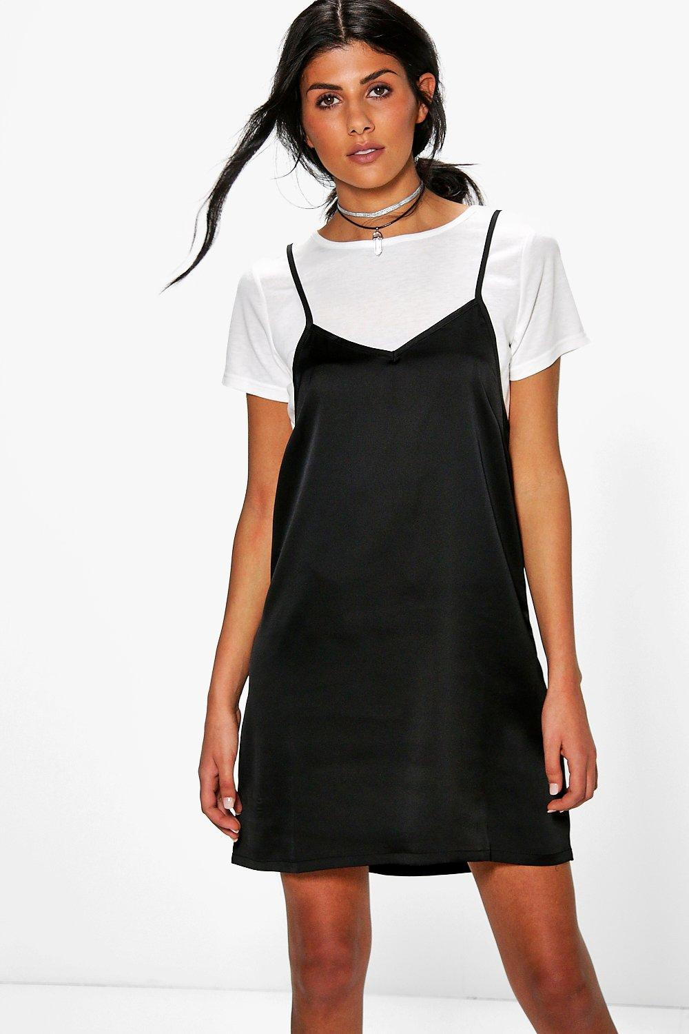 Lucy 2 in 1 T-Shirt With Satin Slip Dress | Boohoo