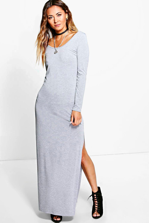Long Sleeve Side Split Maxi Dress Boohoo
