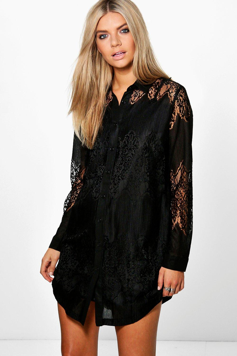 b01102359ce4 Lace Panelled Shirt Dress. Hover to zoom