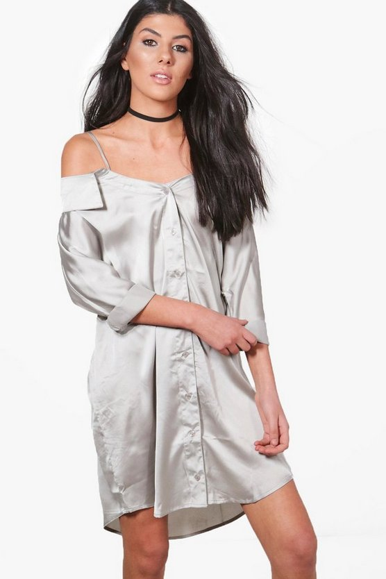 Womens Jackie Off Shoulder Collar Shirt Dress