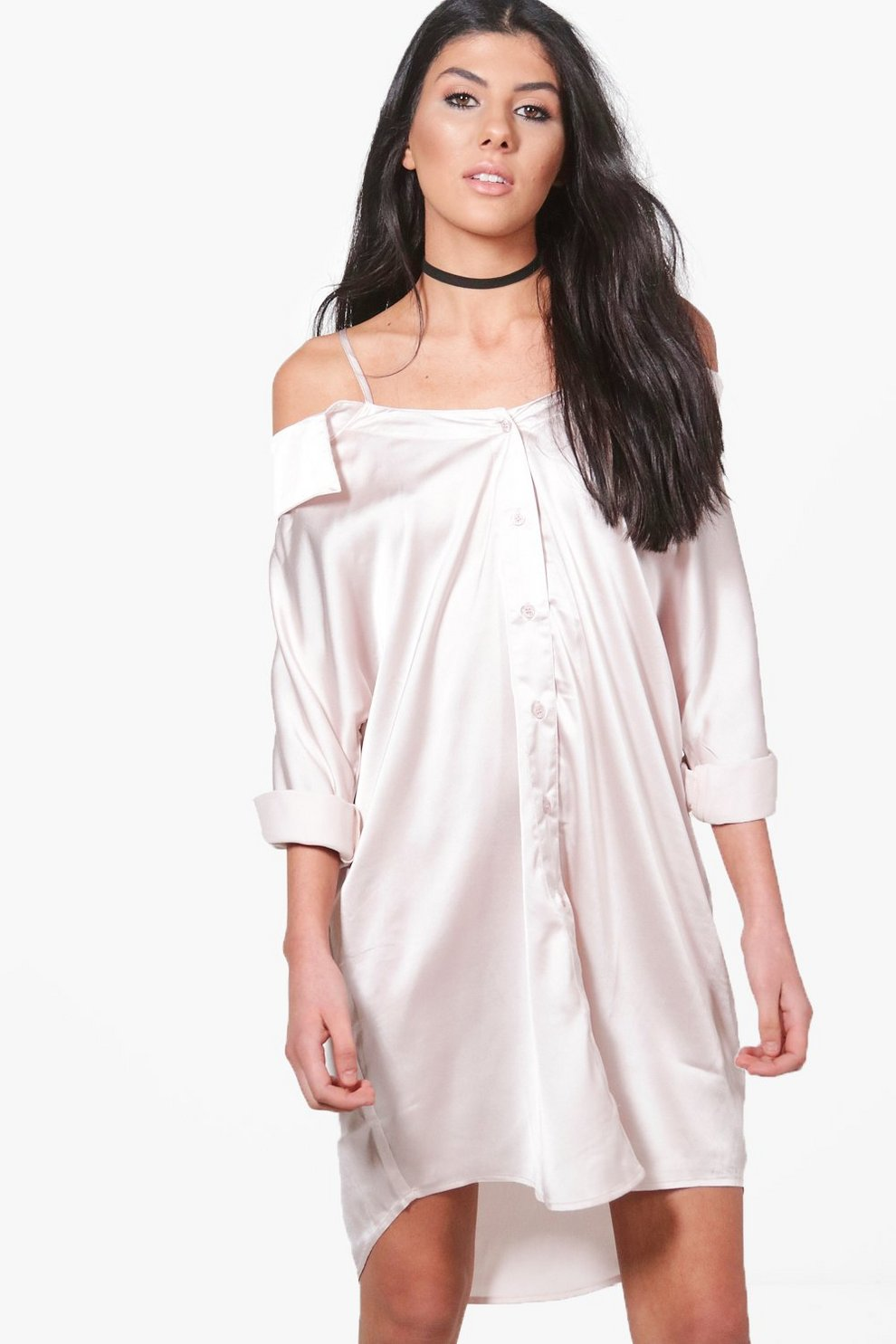 1fefdde82279 Jackie Off Shoulder Collar Shirt Dress