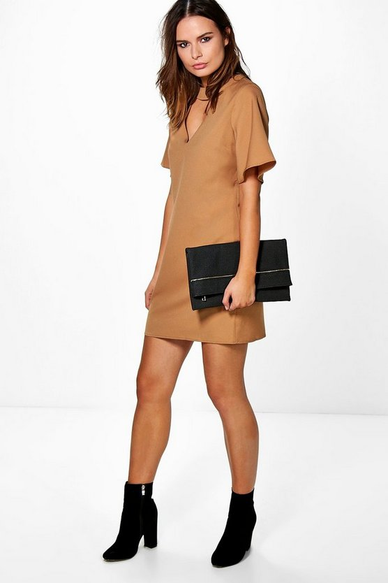 Choker Neck Plunge Shift Dress