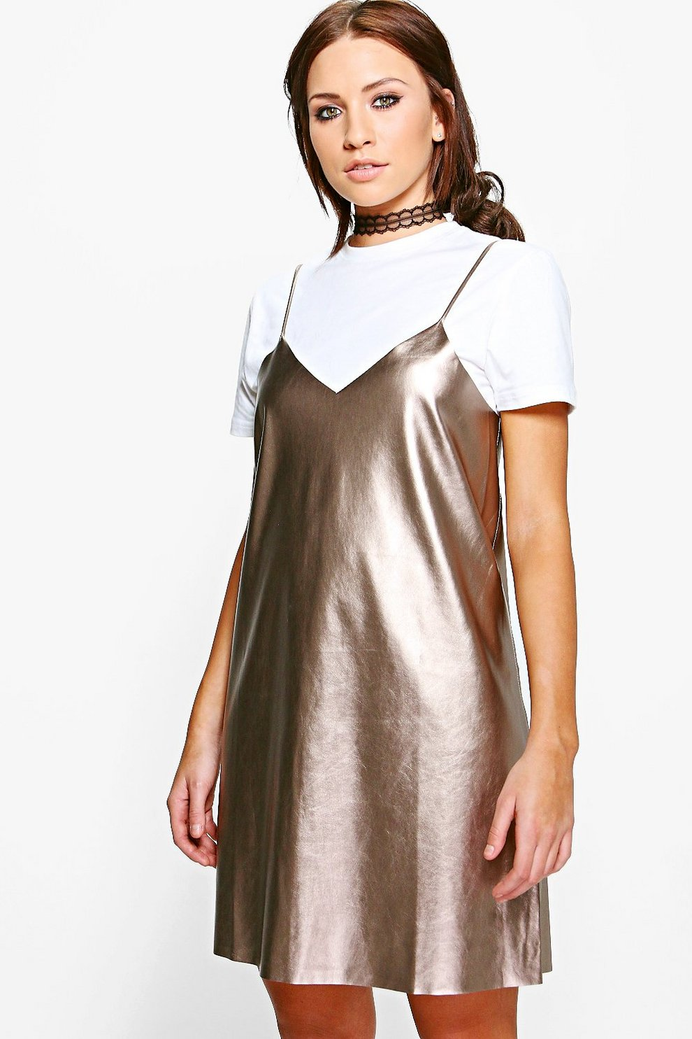 a94364964f3b Womens Bronze Melody Metallic Faux Leather Slip Dress. Hover to zoom