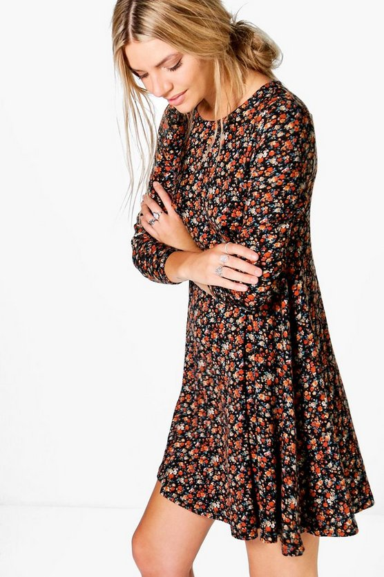 Lara Ditsy Brushed Knit Floral Swing Dress