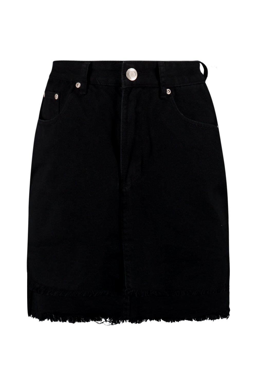 denim bajo Falda negro con rasgado 6qS07d