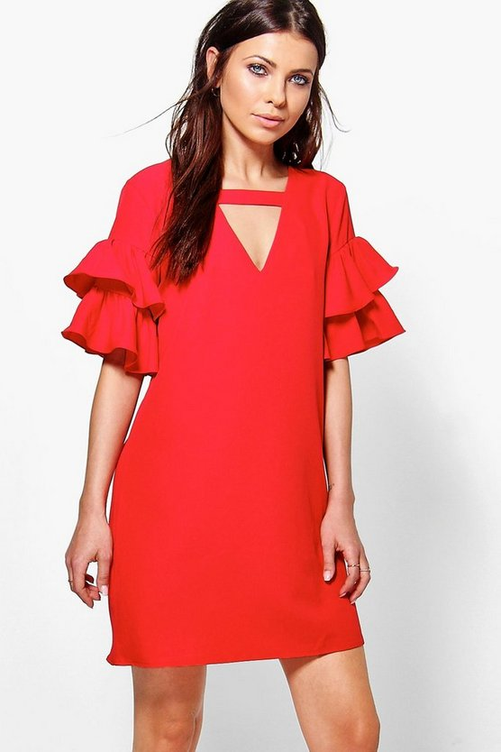 Womens Ruby Georgia Tiered Plunge Shift Dress