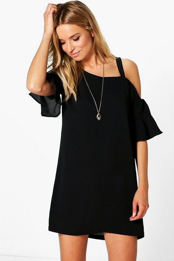 Womens Cher Asymmetric Flute Sleeve Shift Dress