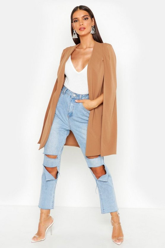 Womens Camel Longline Tailored Crepe Cape