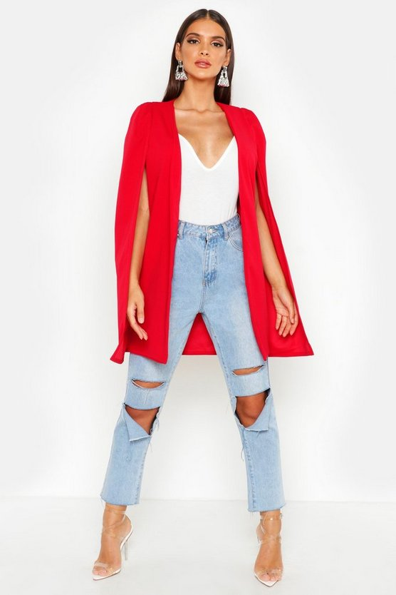 Womens Red Longline Tailored Crepe Cape