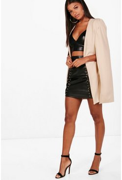 Stone Longline Tailored Crepe Cape
