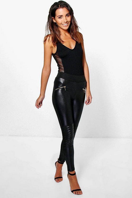 Naeve Leather Look Zip Front Biker Leggings