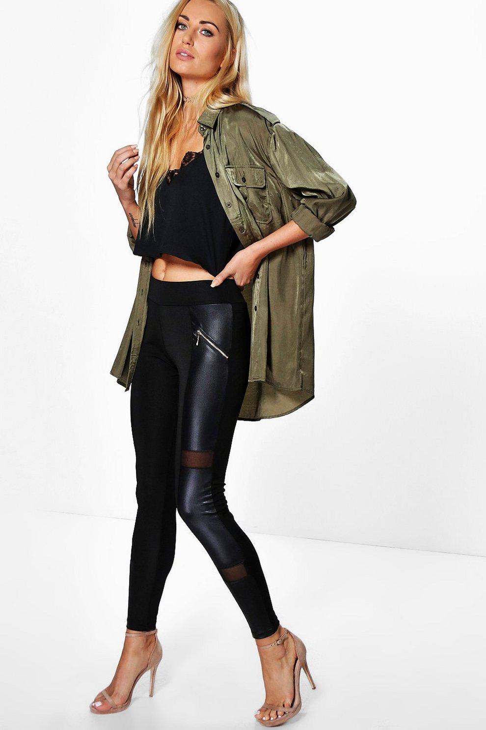 e40253e2a762 Mira Zip Front Leather Look Panel Leggings | Boohoo