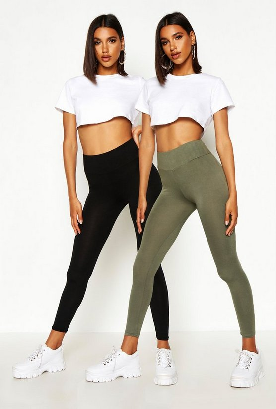 Womens Khaki 2 Pack Basic High Waist Leggings