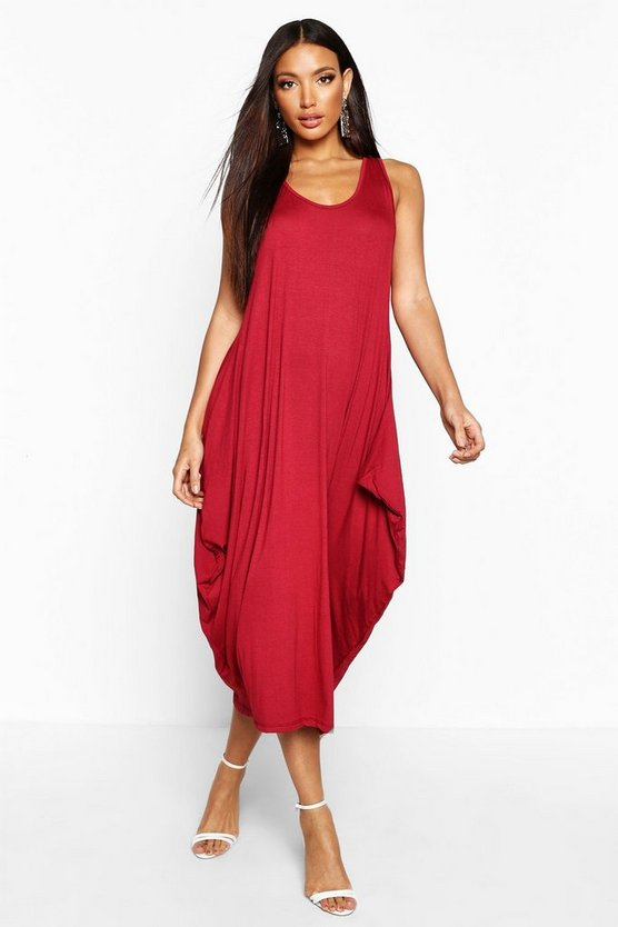 Womens Berry Racer Back Ruched Maxi Dress