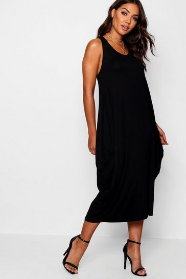 Womens Black Racer Back Ruched Maxi Dress