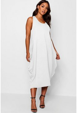 Cream Racer Back Ruched Maxi Dress