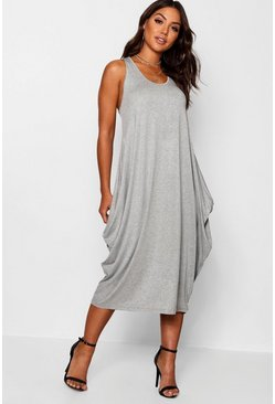 Womens Grey Racer Back Ruched Maxi Dress