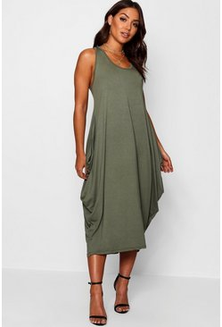 Womens Khaki Racer Back Ruched Maxi Dress