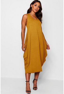 Womens Mustard Racer Back Ruched Maxi Dress
