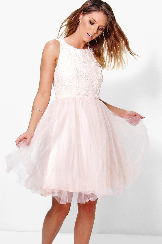 Boutique Ally Applique Top Mesh Skater Dress
