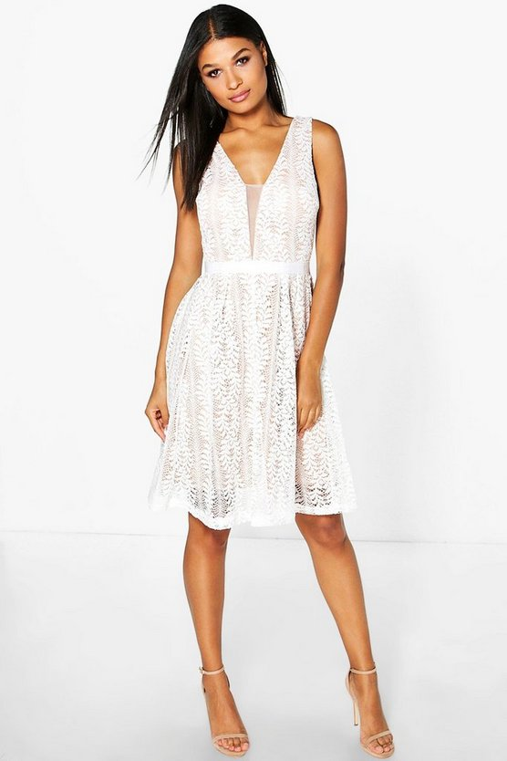 Womens Ivory Boutique Zoe All Over Lace Midi Skater Dress