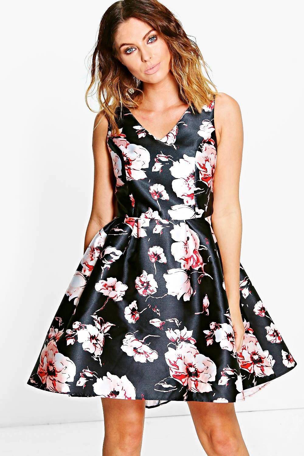 e2db287be collection flossie robe patineuse imprimé fleurs | Boohoo