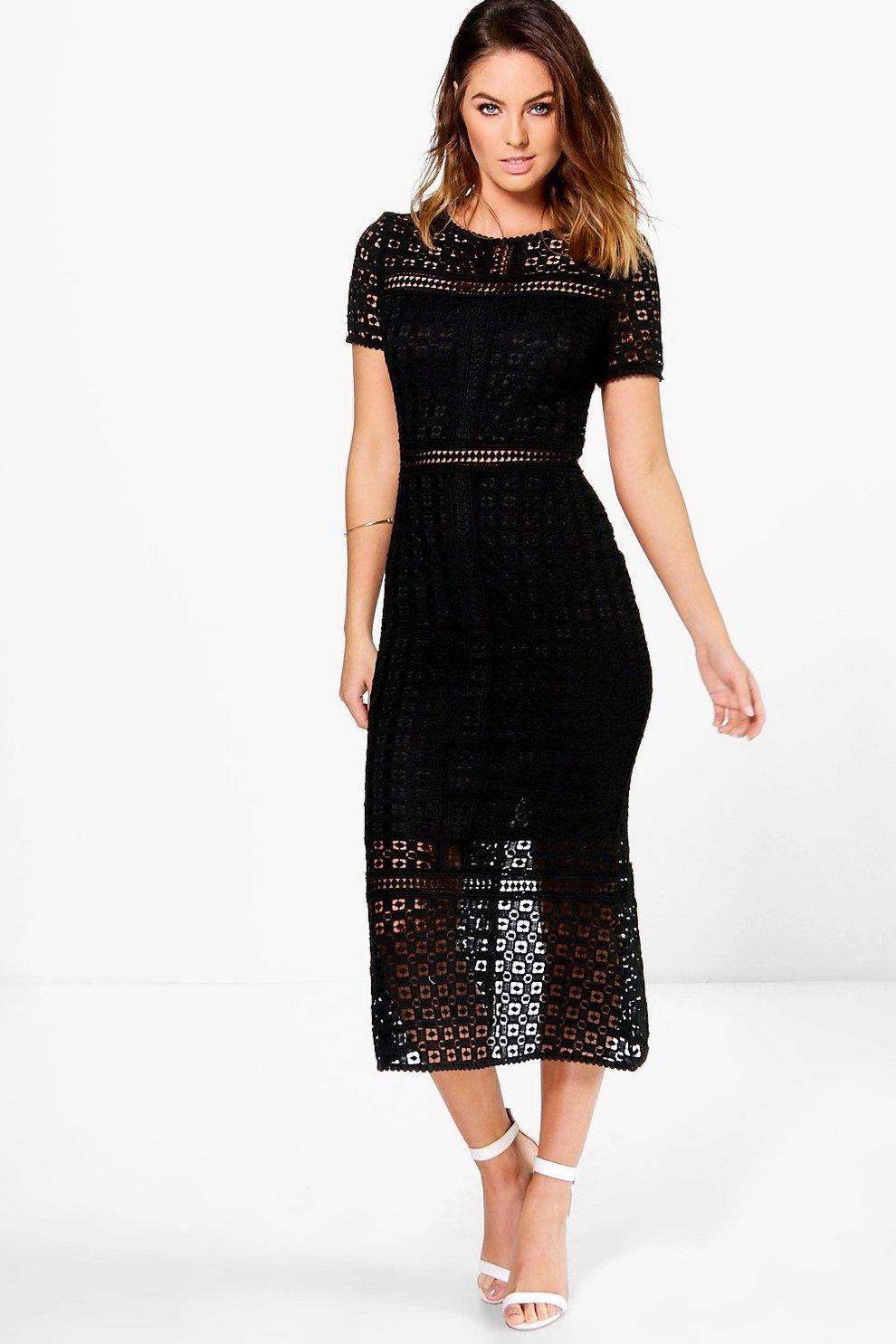847dd379dd95 Boutique Crochet Midi Dress